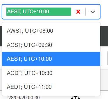 Dropdown showing timezone options available on matched betting software